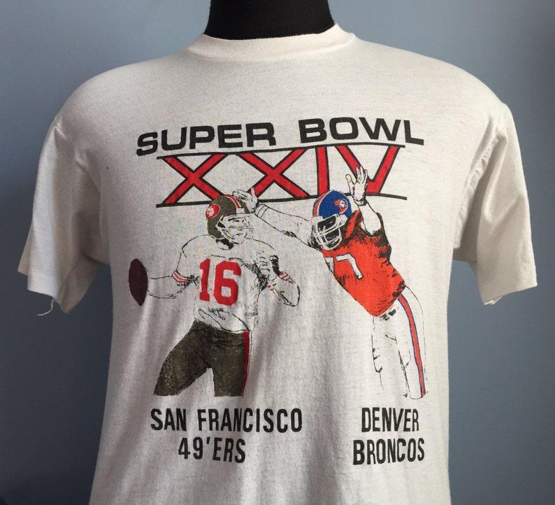 711e1b23 80s Vintage San Francisco 49ers vs Denver Broncos Super Bowl XXIV 1989 1990  nfl football T-Shirt - MEDIUM