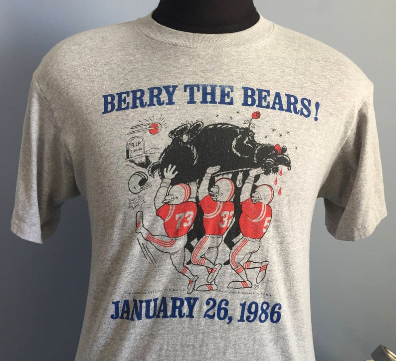 80s Vintage New England Patriots Super Bowl XX Berry The Bears  9bf812532