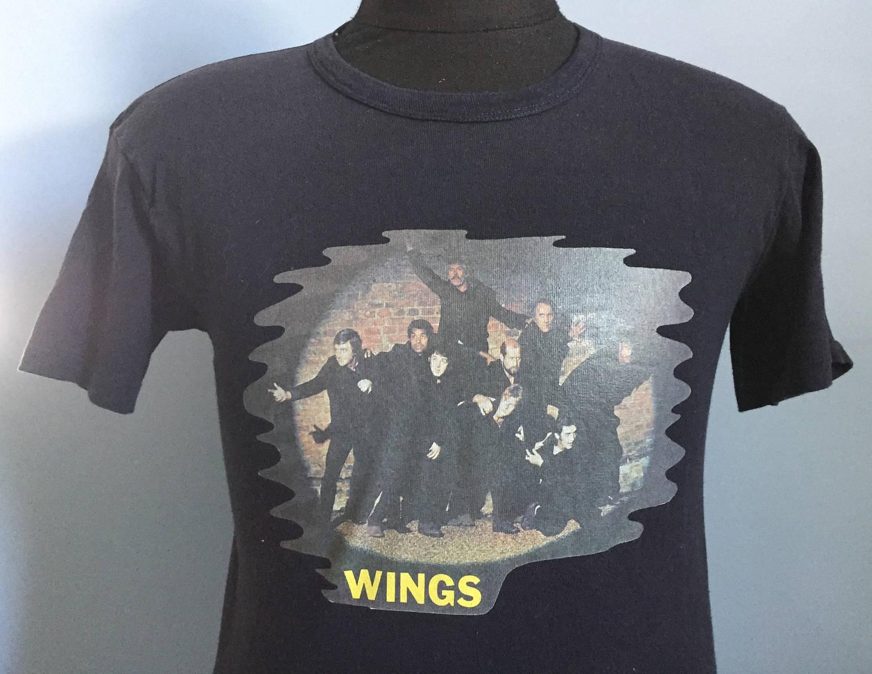 70 s vintage de ailes bande sur le T-Shirt de Beatles de vintage Paul McCartney Run 1973-MEDIUM e35836