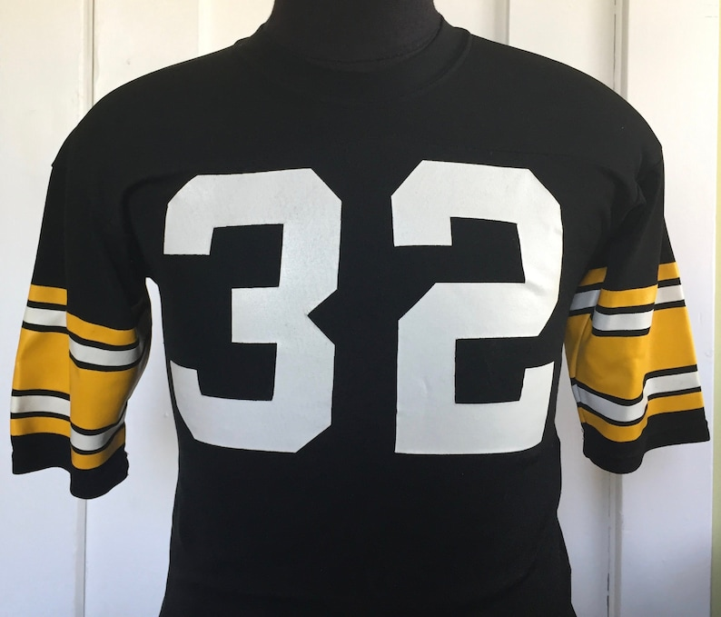 online store 6ccf6 7d6a8 70s 80s Vintage Pittsburgh Steelers #32 Franco Harris nfl football Medalist  Sand-Knit Jersey T-Shirt - SMALL