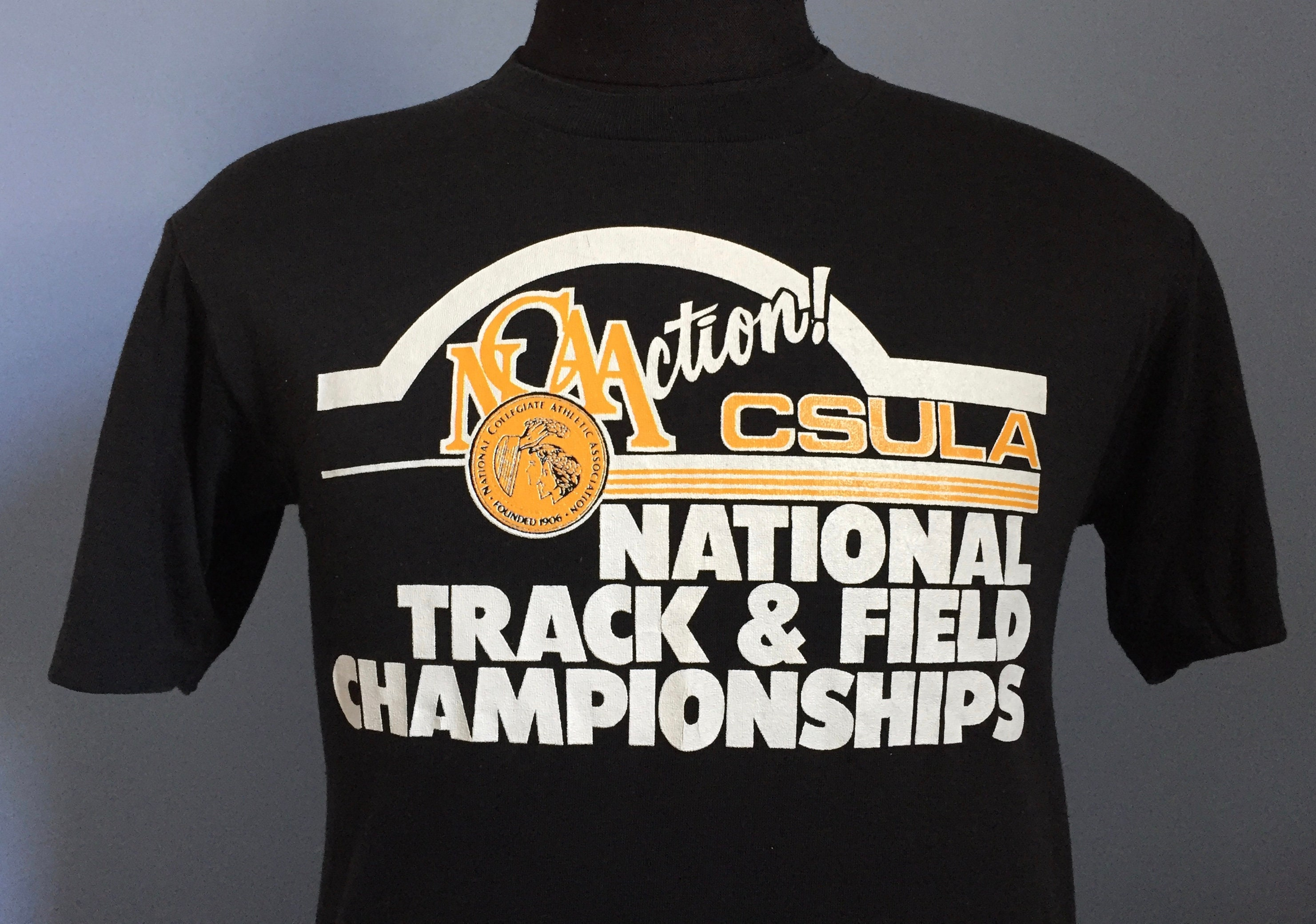 80s Tops, Shirts, T-shirts, Blouse   90s T-shirts 80S Vintage Ncaa Action Csula National Track  Field Championships Cal State Los Angeles University College T-Shirt - Small $36.50 AT vintagedancer.com