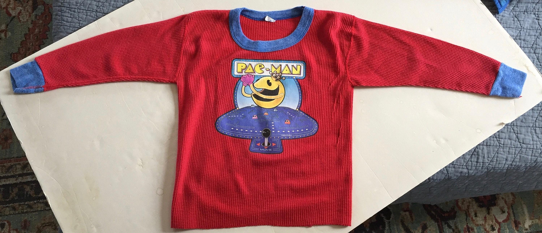 80s Tops, Shirts, T-shirts, Blouse   90s T-shirts 80S Vintage Pac-Man 1982 Pacman Arcade Video Game Promo Pajamas Sleep Underoos Long Sleeved Shirt - Youth Small $36.50 AT vintagedancer.com
