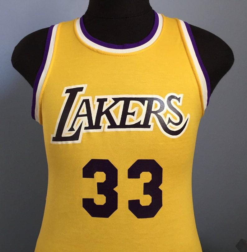 9655b1187 80s Vintage Kareem Abdul Jabbar 33 Los Angeles Lakers nba