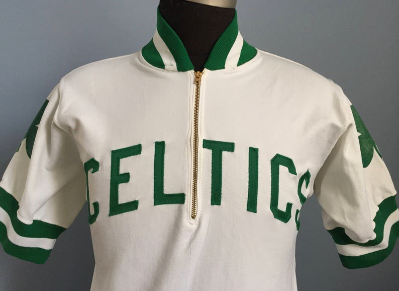 buy online 2653c 7ca2a 60s 70s Vintage Boston Celtics nba basketball Wilson cropped warm up Shirt  - XS X-SMALL