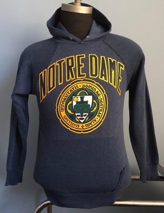 80s Vintage Notre Dame Fighting Irish University ND crest ncaa college hoodie hooded Sweatshirt XS X SMALL