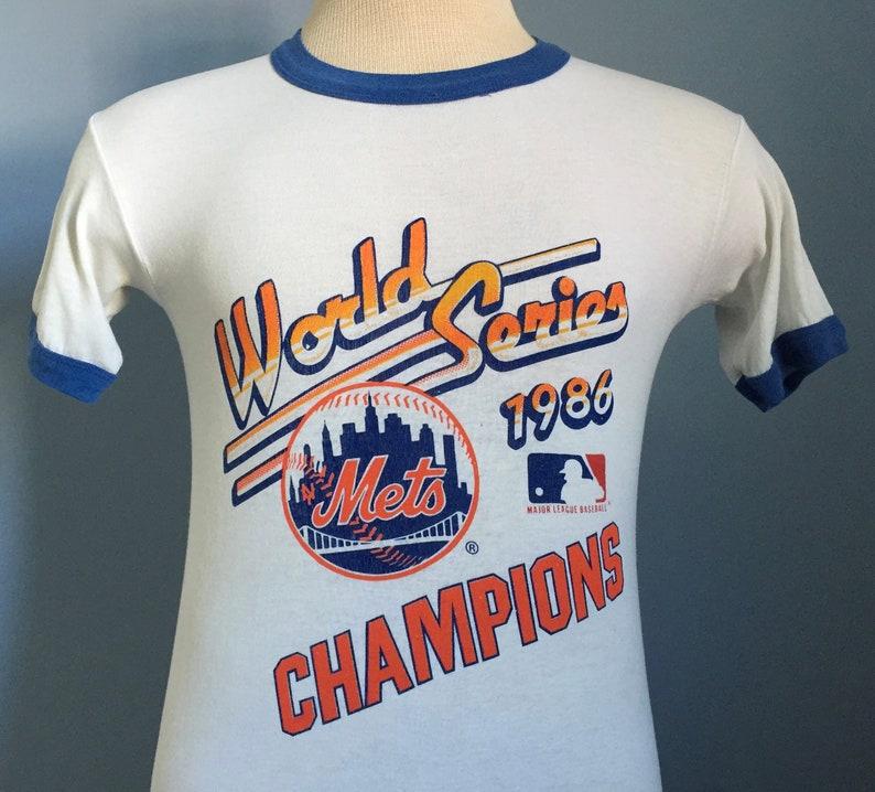 80s Vintage New York Mets 1986 World Series Champions mlb baseball ringer  T-Shirt - XS X-SMALL