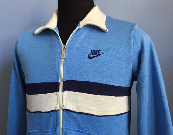 80s Vintage Nike navy blue logo tag shoes athletic sports Track Jacket MEDIUM