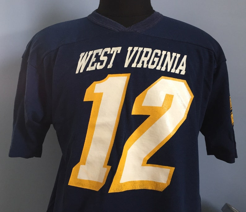 official photos c9c3b f7715 80s Vintage West Virginia University Mountaineers #12 WVU football ncaa  college Champion jersey T-Shirt - XL X-LARGE