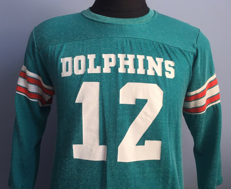 the best attitude d44a6 1c5fe 70s Vintage Bob Griese #12 Miami Dolphins nfl football Sears by Rawlings  Jersey T-Shirt - MEDIUM