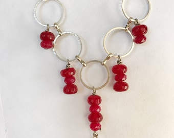 Red quartz silver necklace.  fleur de lis charm.
