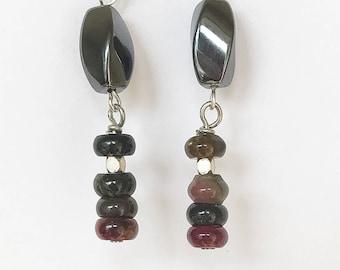 Hematite and Tourmaline Sterling Silver Earrings. Tourmaline earrings, hematite earrings, October birthstone, October birthday