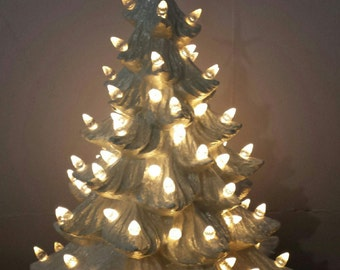 White Old Time Ceramic Christmas Tree