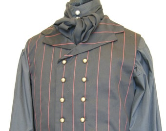 5fc5765d2b2ee9 SALE Double breasted pinstripe collared waistcoat black and red cotton  drill steampunk chap Victorian Edwardian Obsidian Gothic Clothing