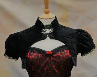 637f5c3baa Victorian Velvet Puffed Sleeve Shrug Bolero Goth Vampire Steampunk OBSIDIAN