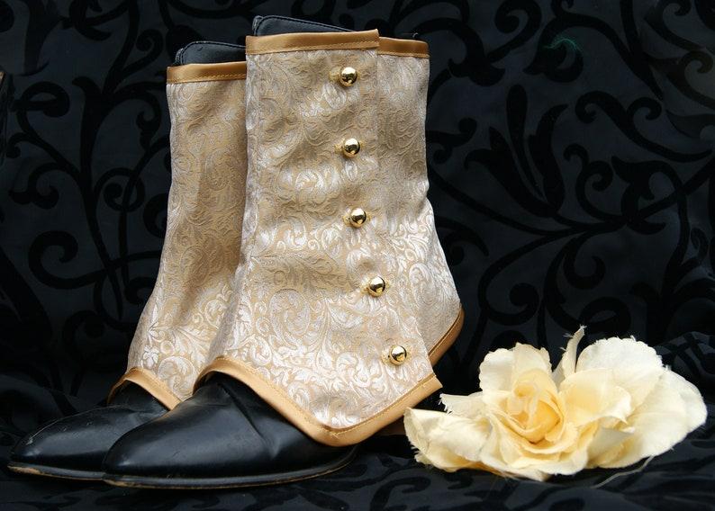 Gold Silk Brocade Wedding Bridal Spats