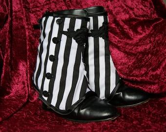 Ladies Stripey Spats black & white Goth Steampunk Victorian Burlesque Obsidian Gothic