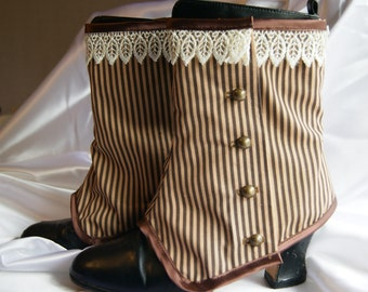 Brown Stripey Spats Cream Venise lace trim Granny Boot Covers Goth Steampunk Victorian Burlesque Cirque OBSIDIAN