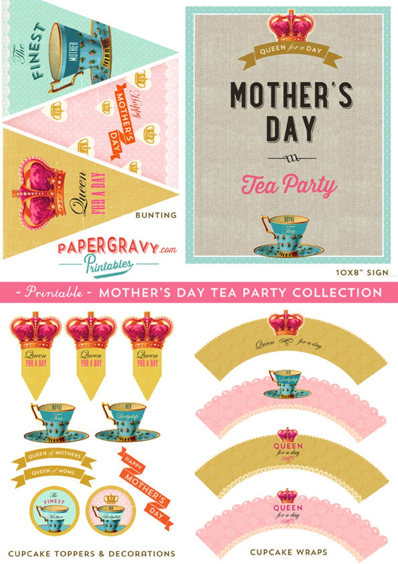 image about Printable Design referred to as Printable Moms Working day Tea Celebration Decorations 16 programs