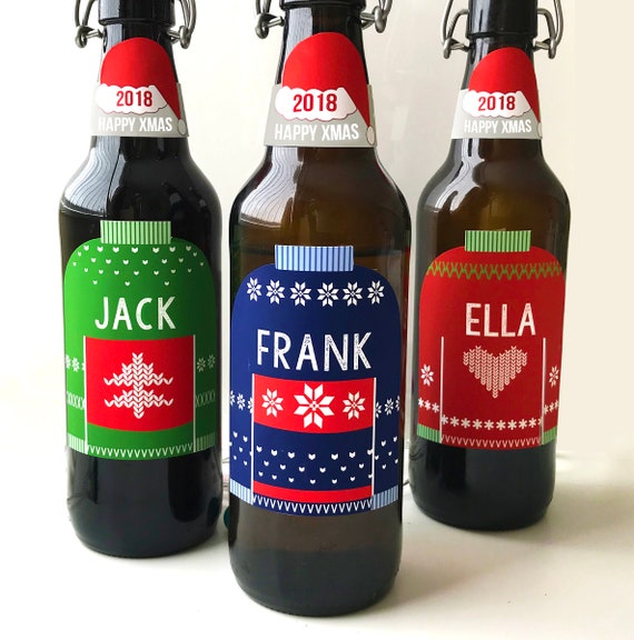 image relating to Printable Beer Labels known as Printable Customized Xmas Beer labels - Personalized Wine labels - PDF
