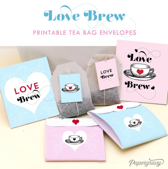 Love Brew Tea Bag Envelopes - Valentines - Wedding favors - Instant ...