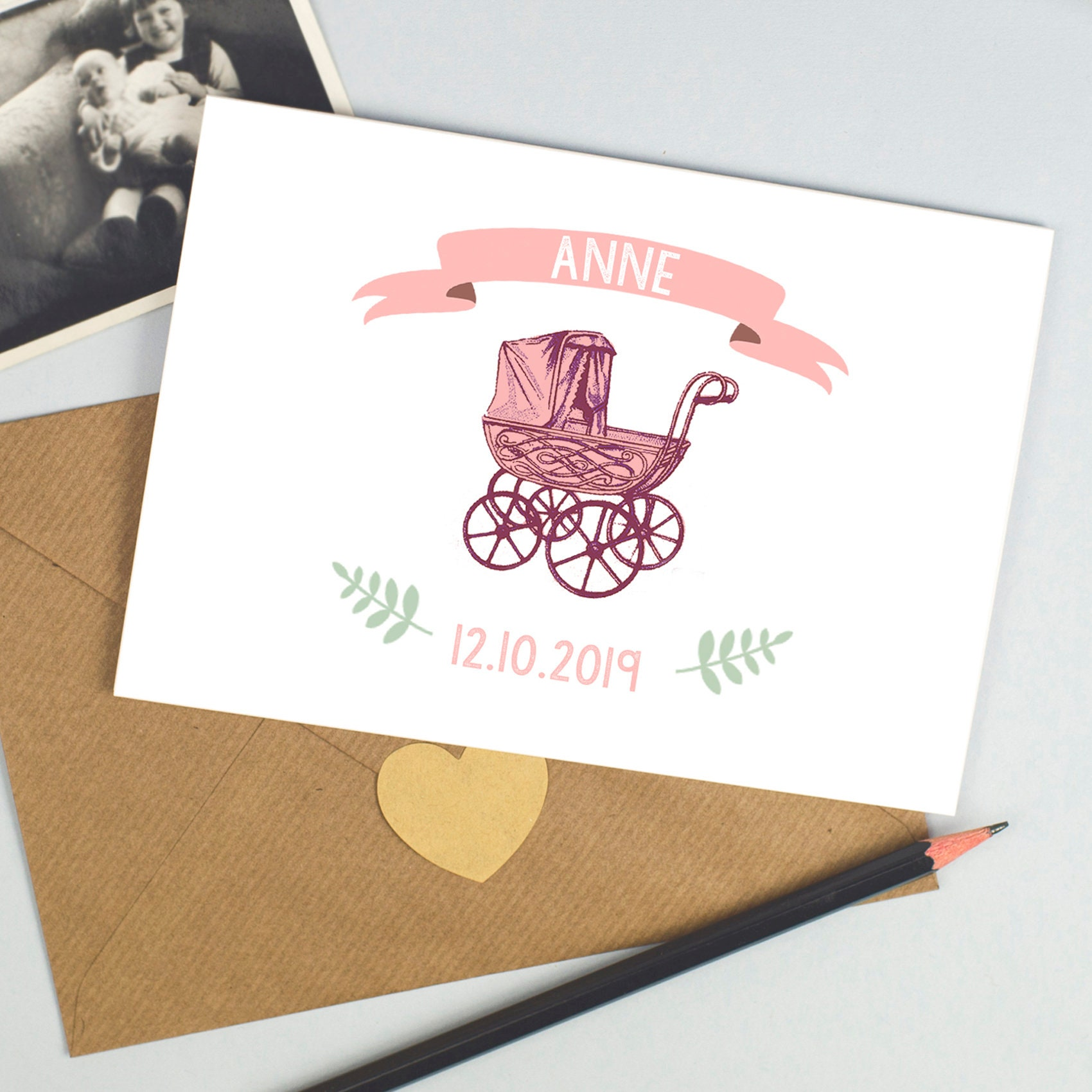 Personalised New Baby Girl Card congratulations its a girl