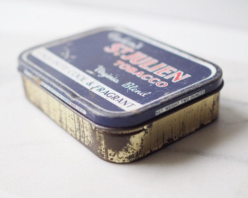 Vintage Original Ogdens St Julien Tobacco Tin Retro Virginia Blend Blue Rectangle Tin Collectible Tin