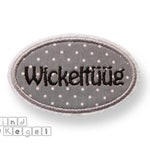 Patch patch oval shield + name black, 7.5 x 4.5 cm, fabric grey-white dotted, contour grey, frame, name plate, label