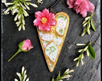Mosaic pendant,'Summer Scape' broken china jewelry, free shipping, flower necklace, summer gift, garden gift, pink flower, small gift