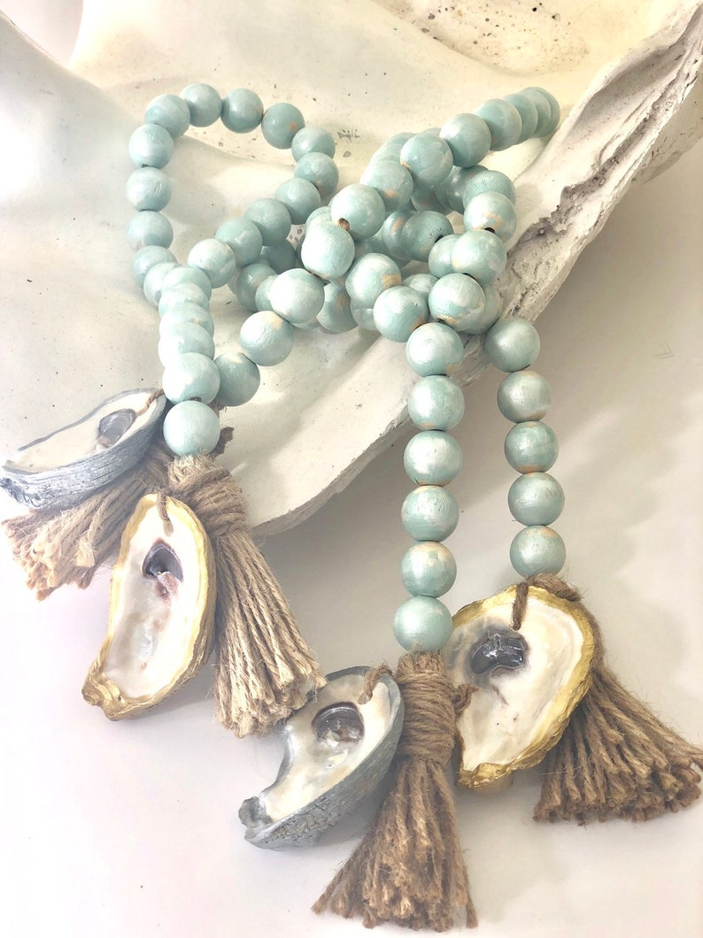 Blue/ Silver Oyster Coastal Blessing Beads image 0