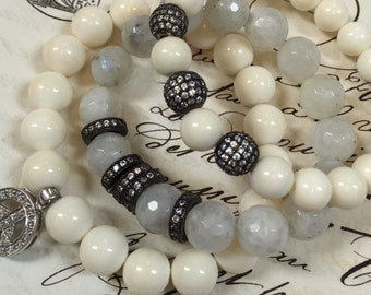 8mm Superior BONE beads,Callibrated White Ox bone beads, 8mm, full strand, perfectly round, for bracelet or necklace, 48-50 beads per strand
