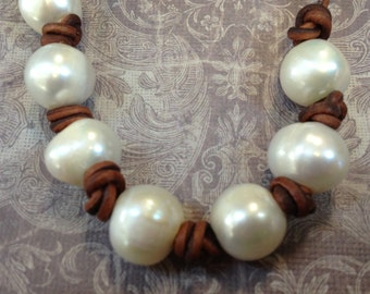 42-44 LARGE HOLE 10mm White pearls per strand,Natural Freshwater Pearls,for leather or large stringing materials, 2.5mm hole