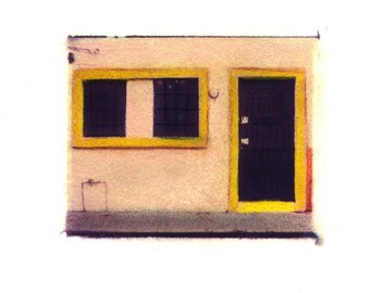 Casa Amarillo - Archival Print of an Original Polaroid Transfer, Signed Limited Edition 8x10 Matted