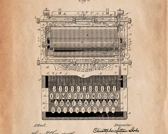 Type Writing Machine 1896 US Patent Office Print Art Drawing Poster. Variety of Sizes & Backgrounds.