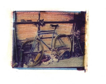 Bicileta -  Archival Print of an Original Polaroid Transfer, Signed Limited Edition 8x10 Matted