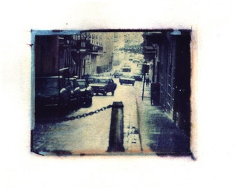 Blue Street -  Archival Print of an Original Polaroid Transfer, Signed Limited Edition 8x10 Matted