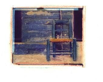 La Silla Azul -  Archival Print of an Original Polaroid Transfer, Signed Limited Edition 8x10 Matted