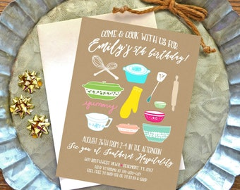 Personalized paper goods for every freaking by laceyfields on etsy cooking birthday party invitation free shipping printable baking birthday invitation kitchen party invitation kitchen theme invite digital stopboris Gallery