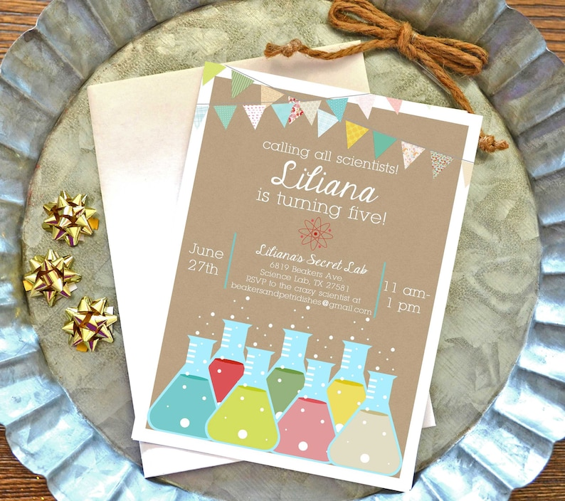 Science Birthday Invitation FREE SHIPPING Printable Girl Party Invite Calling All Scientists Fifth