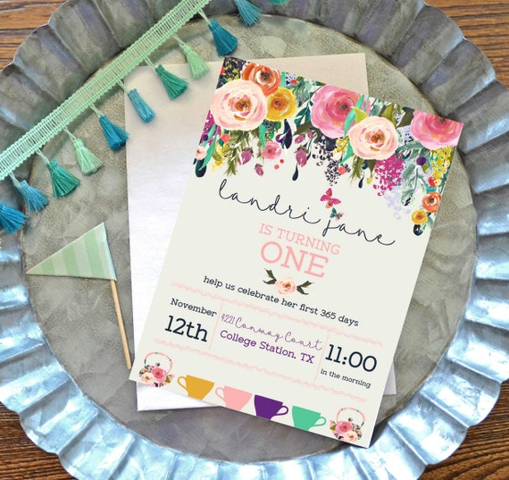 Items Similar To Tea Birthday Party Invitation FREE SHIPPING Printable Vintage Invite First Floral Girly