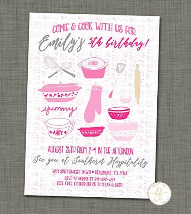 Cooking Birthday Party Invitation FREE SHIPPING Printable Baking Kitchen Theme Invite Digital