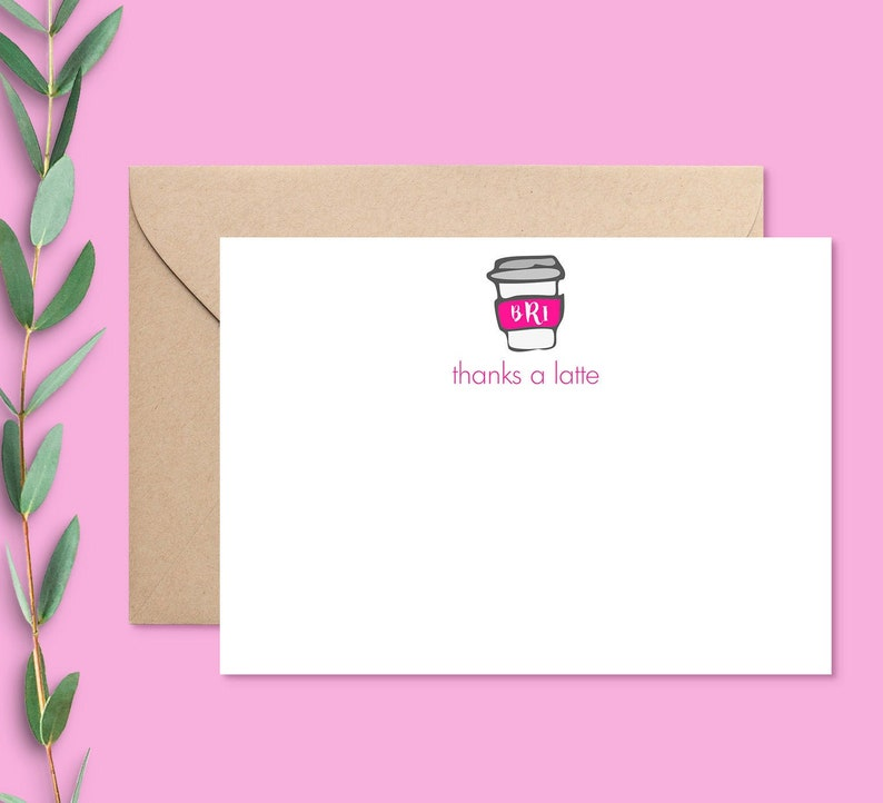 Coworker Thank You Personalized Thank You Notes Thanks a Latte Card Thank You Cards Funny Coffee Lovers Gift Thank You Cards Set