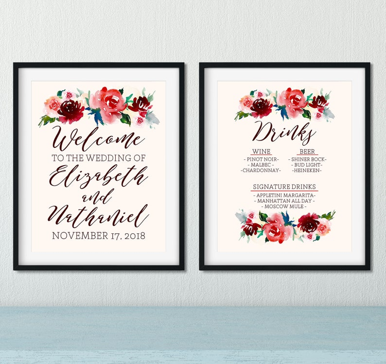 image regarding Newks Printable Menu known as Wedding day Signs or symptoms Printable - Welcome Wedding ceremony Indicator - Consume Menu Marriage - Rustic Wedding day Decor - Burgundy Marriage Decor - Bar Menu Marriage Indicator