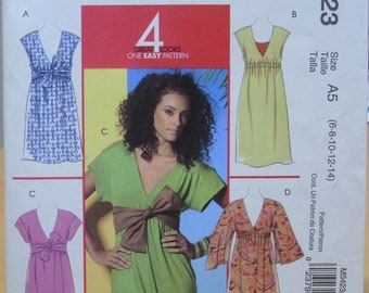 McCall's 5423 Simple summer dress sewing pattern for stretch knits  6 8 10 12 14 UNCUT