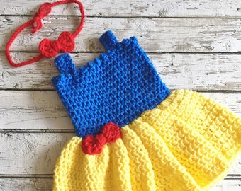 Snow White Costume, Crochet Baby Snow White Dress, Princess Snow White Outfit, Newborn Photo Prop, Baby Crochet Snow White Costume