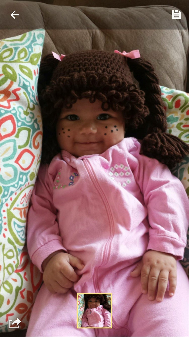 cabbage patch wig hat halloween costume doll hair cabbage | etsy
