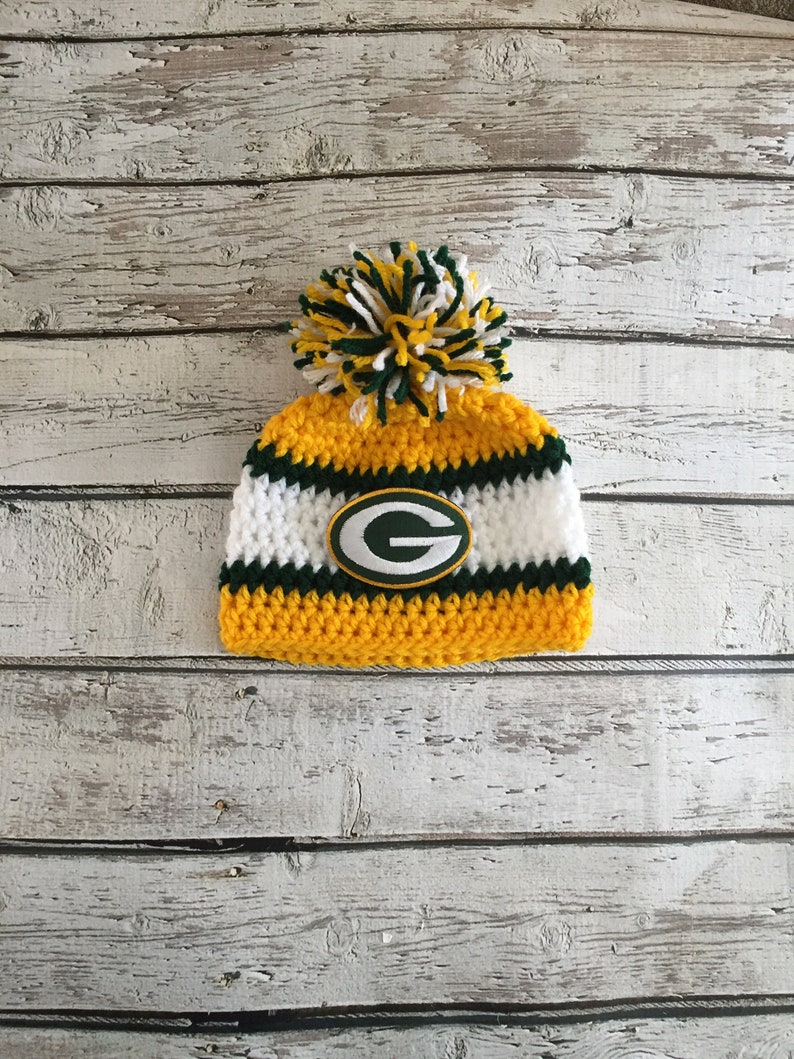 e2d34c9e61c Green Bay Packers Inspired Crochet Hat Baby Hat Football