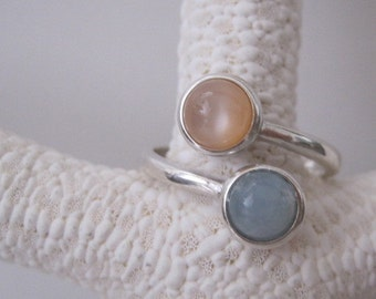 Peach Moonstone and Blue Aquamarine Wrap Around Ring