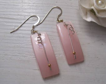 Vintage Moonglow Lucite Rectangle Drop Earrings