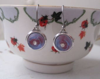 Vintage Periwinkle Plum Matte Frosted Glass Rose Earrings