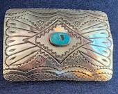 Vintage Navajo Albert Bighand Sterling Belt Buckle